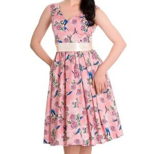 Hell Bunny 'Lacey' 50s dress in pink swallow rose